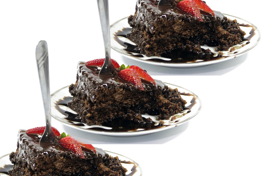 three slices of cake