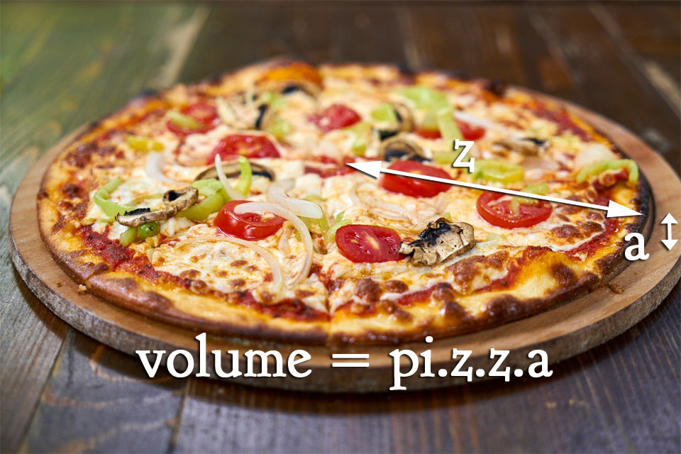 How do you calculate the volume of a pizza? 2